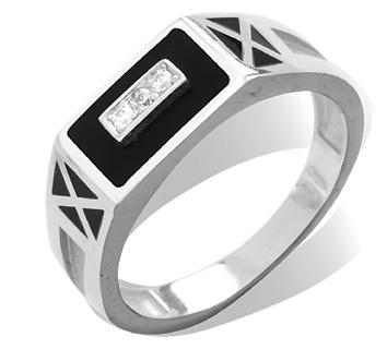 Где купить серебряное кольцо печатка для мужчин с прямоугольной площадкой с рядом из трех белых фианитов родирование